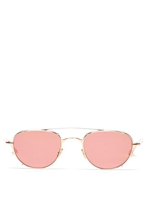 Jacques Marie Mage - Harcourt Aviator Titanium Sunglasses - Mens - Pink Gold