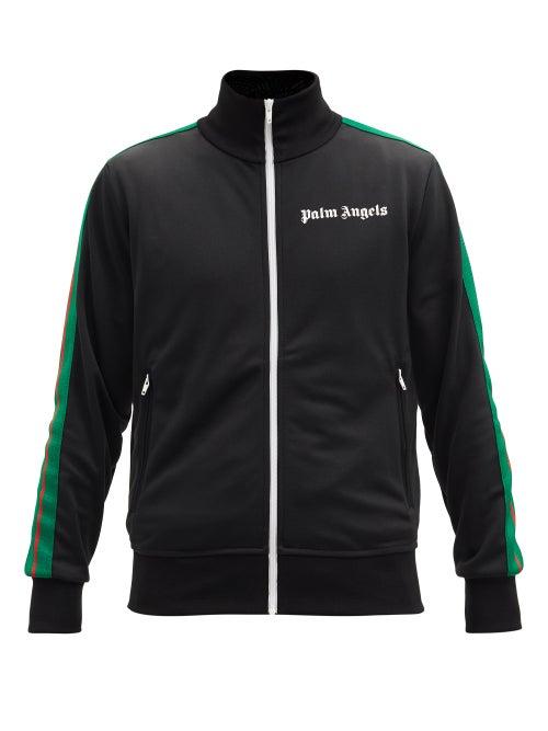 Palm Angels - Sleeve-stripe Logo-print Cotton Track Jacket - Mens - Black