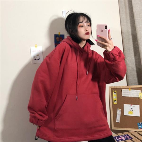 M-XL實拍新款冬裝韓版超火cec連帽純色ins加厚加絨長袖上衣(七色)-凱西娃娃