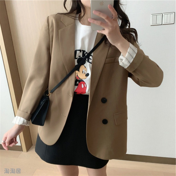 網紅小西裝外套女2020新款秋韓版復古休閒氣質短款西裝上衣