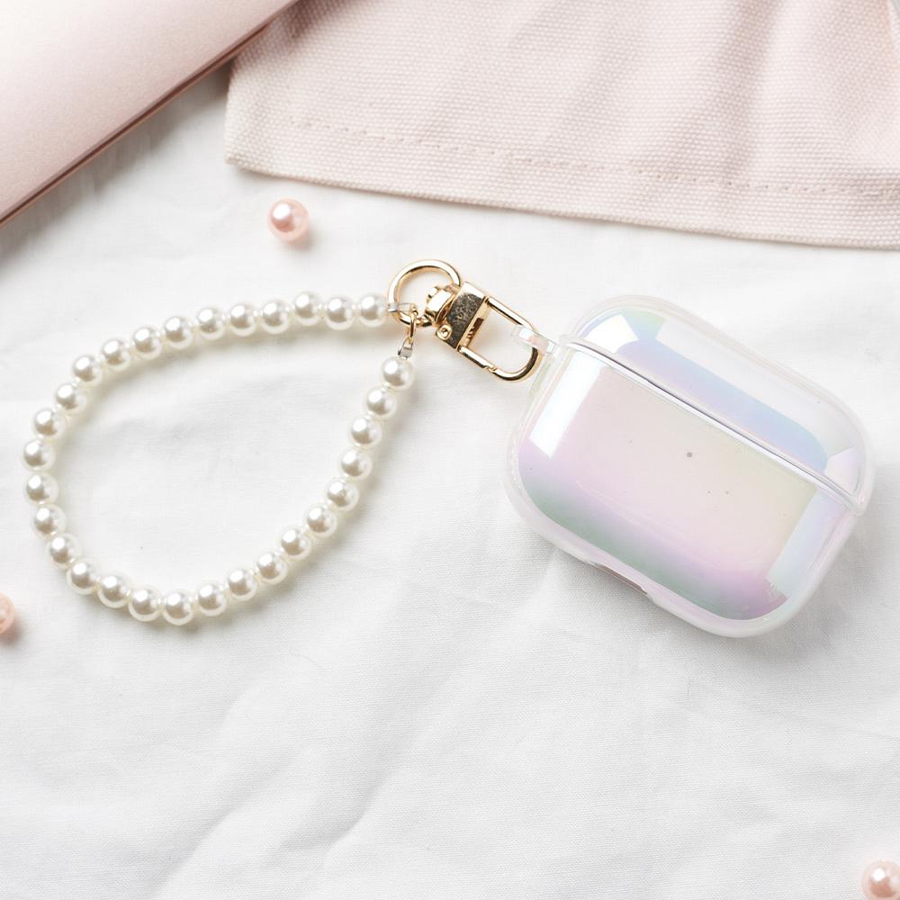 【獨家設計】貝殼彩虹晶透AirPods保護套 (贈氣質珍珠短掛鏈)
