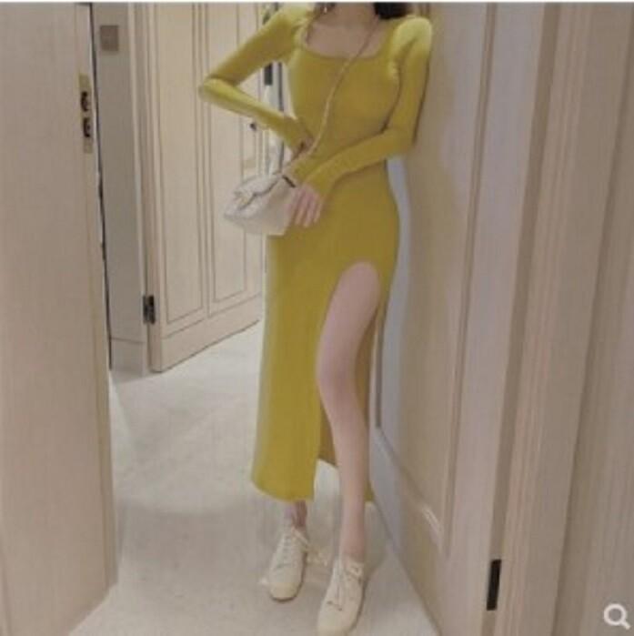 純色修身顯瘦開叉連衣裙