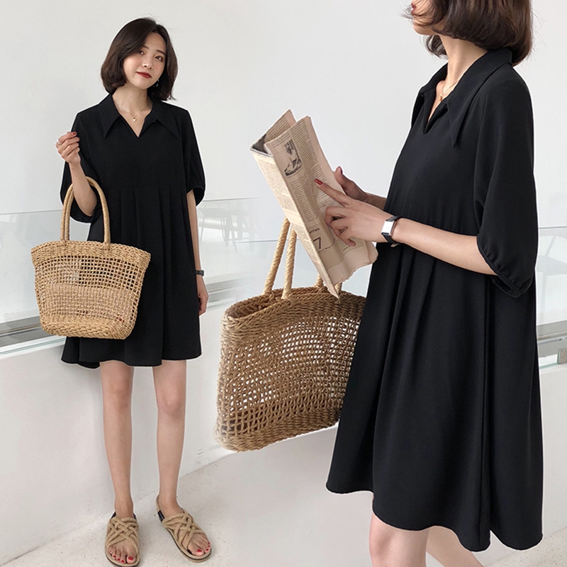 【KDIFF】M-4XL大尺碼衣著女裝200斤夏季洋裝中長款A字襯衫裙胖mm寬鬆顯瘦郝本小黑裙