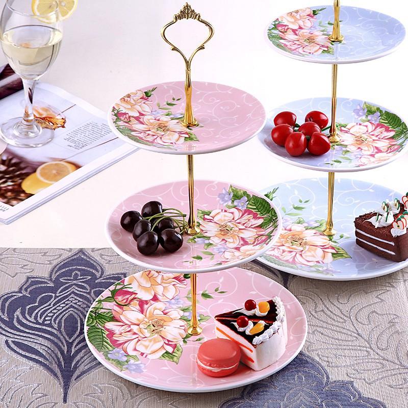 歐式陶瓷三層水果盤子藍客廳創意蛋糕架玻璃乾果盤下午茶點心託盤