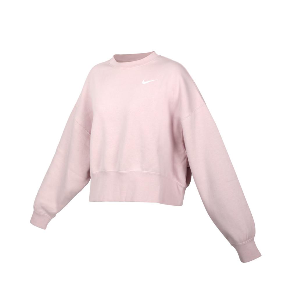 nike 女長袖t恤-刷毛 保暖 休閒 寬版 上衣 大學t 芋紫白