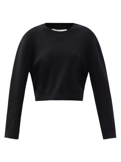 Live The Process - Cropped Jersey Sweatshirt - Womens - Black Grey