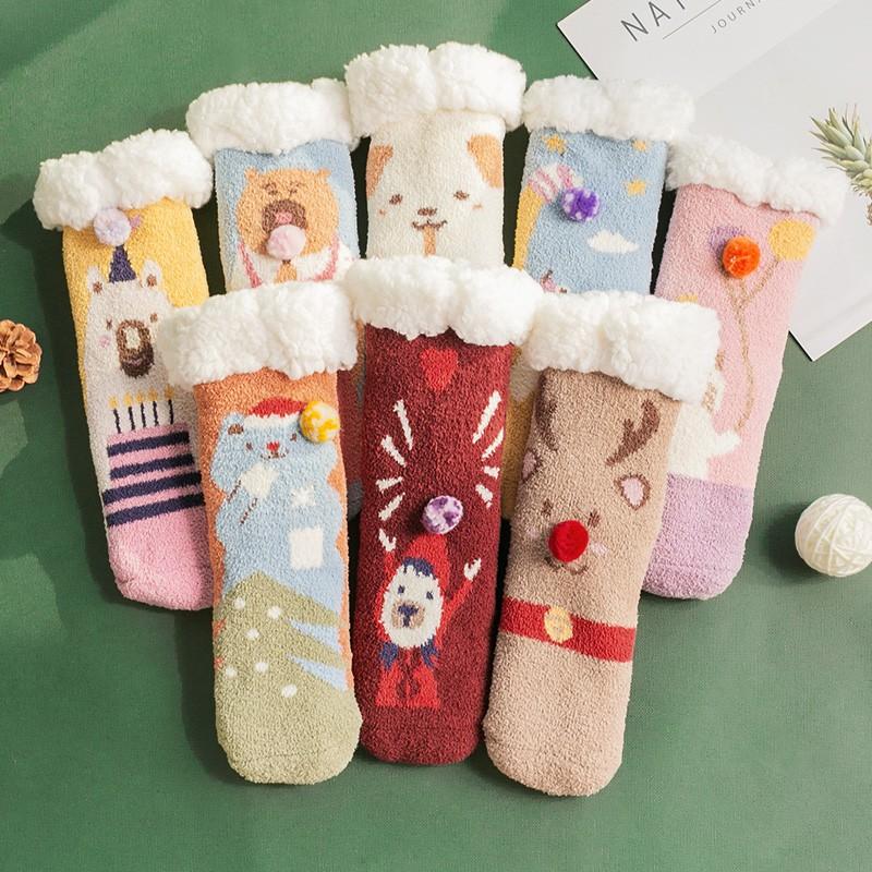 圣誕襪  急速發貨 珊瑚絨 地板襪 子大人女冬月子保暖加絨加厚抗寒家居睡眠可愛 圣誕襪