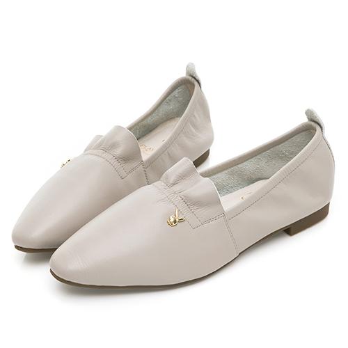 PLAYBOY  法式氣質  真皮小香風娃娃鞋-灰(Y6786)