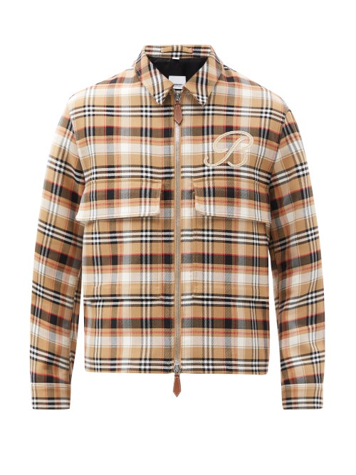 Burberry - Heeley Logo-embroidered Checked Wool-blend Jacket - Mens - Beige