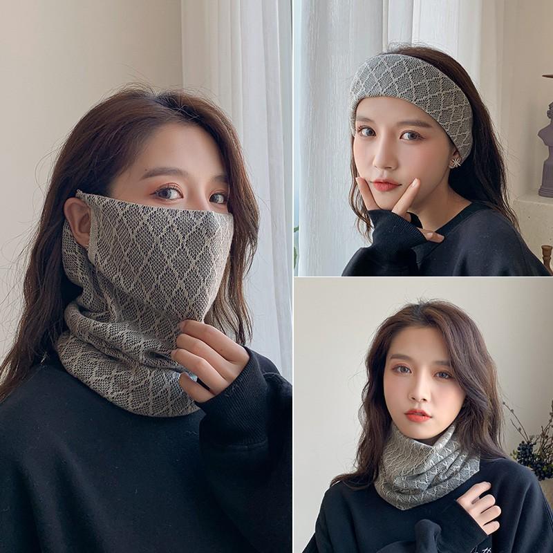圍脖女秋冬季百變韓版掛耳面罩保暖護頸脖套百搭圍巾加厚防風口罩