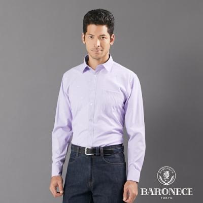 BARONECE 百諾禮士休閒商務  男裝 印花休閒長袖襯衫--紫色(1206164-23)