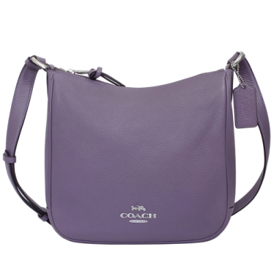 COACH礦紫色荔枝紋全皮中款斜背馬鞍包