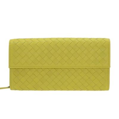 BOTTEGA VENETA 經典編織小羊皮扣翻蓋長夾(黃綠150509 V001N 3324)