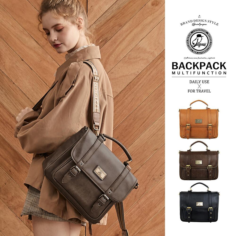 1/2princess升級版復古皮革雙扣三用包側背包 後背包 手提包-3色[a2685-1]