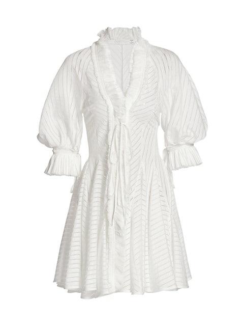 Antoinette Sheer Striped Ruffle-Trim Dress