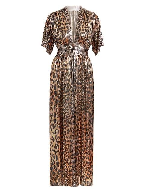 Embellished Leopard-Print Robe Midi Dress