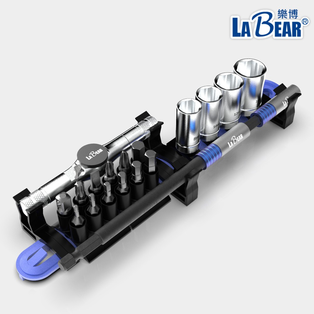 【LaBear】多功能 機車維修工具組 20pcs 三用棘輪扳手 快脫接桿 套筒起子組 萬用工具組 腳踏車維修