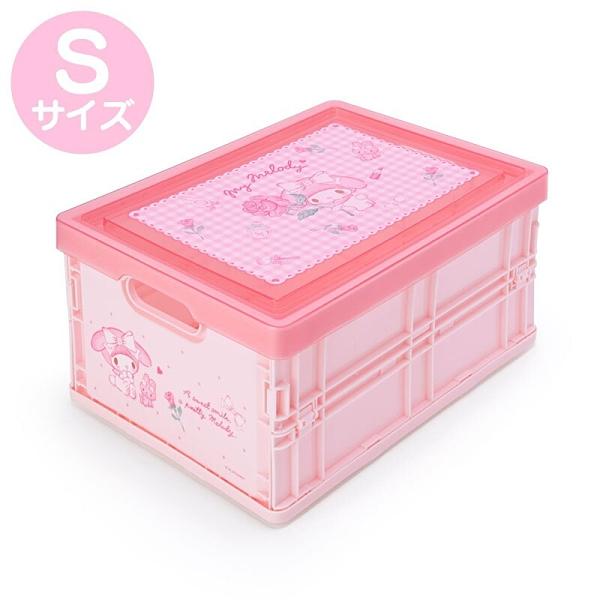 小禮堂 美樂蒂 透明蓋折疊收納箱 塑膠收納箱 拿蓋收納箱 玩具箱 雜物箱 (S 粉 格紋) 4550337-22202