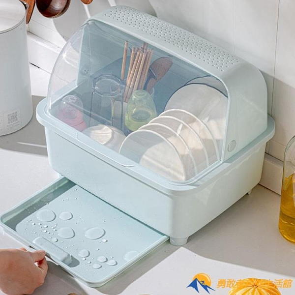 廚房瀝水碗柜帶蓋放碗箱碗碟收納架用品家用大全碗筷收納盒置物架【勇敢者】