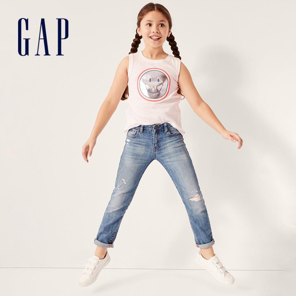 Gap 女童 女友風水洗五口袋破洞牛仔褲 499539-水洗藍