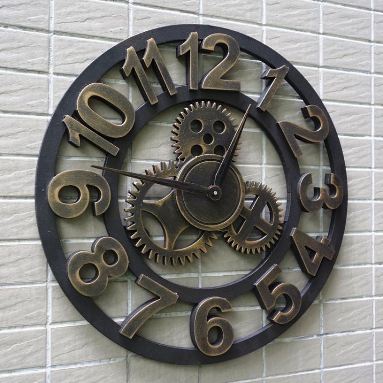 掛鐘靜音美式歐式復古創意時鐘LOFT藝術掛鐘客廳裝飾個性工業齒輪鐘表【麥琪精品】