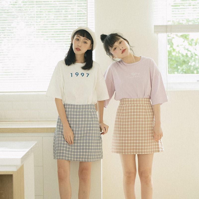 QUEENSHOP_ S 粉嫩配色格紋短裙 兩色售 S/M 現+預【03010769】