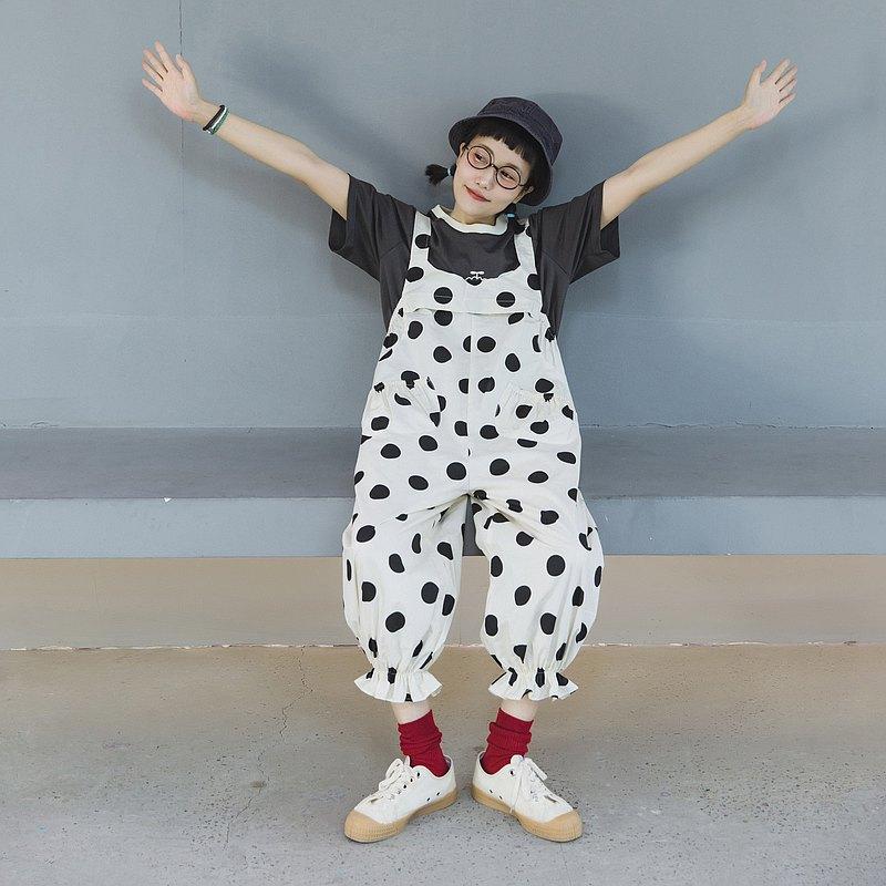 Missmonkey原創設計日系可愛水玉大波點花苞褲腳燈籠背帶褲棉質