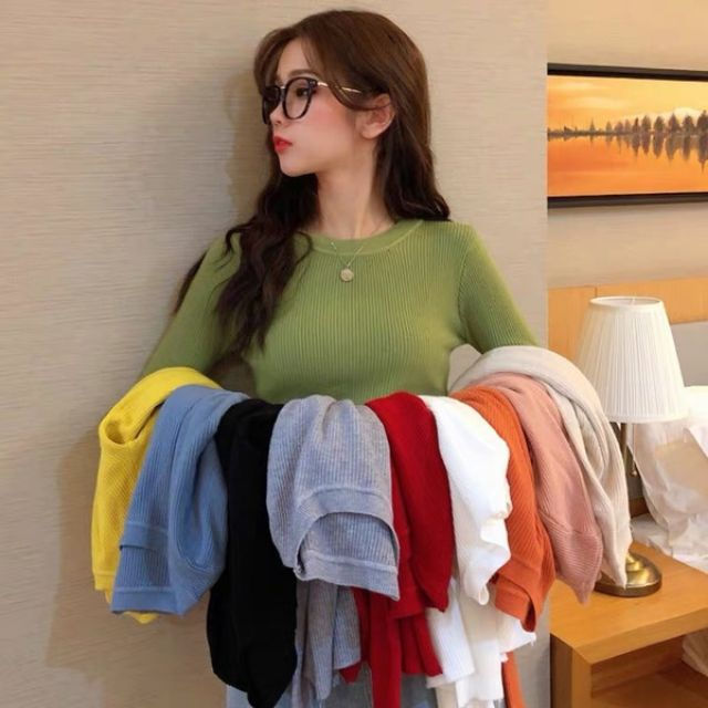 長袖毛衣 打底衫 女生針織衫 緊身針織衫 純色長袖毛衣 秋冬季新款長袖毛衣針織衫女修身打底衫女純色基礎款彈力顯瘦