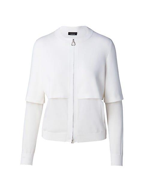 Cotton & Silk Sheer Half & Half Zip Cardigan