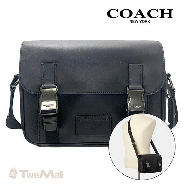 COACH新款全皮革素面多功能掀蓋斜背包(黑)