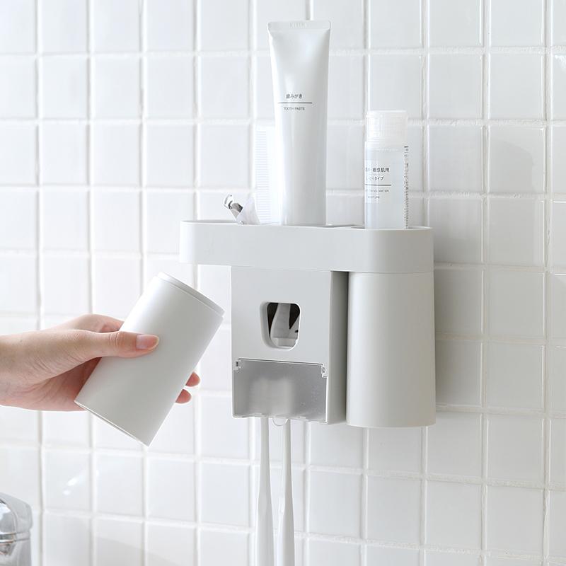 牙刷置物架情侶款洗漱套裝雙人擠牙膏器免打孔壁掛式衛生間牙刷架 rPNq