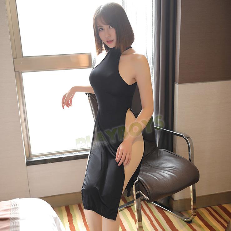 縱情女王高腰開叉性感旗袍(黑)