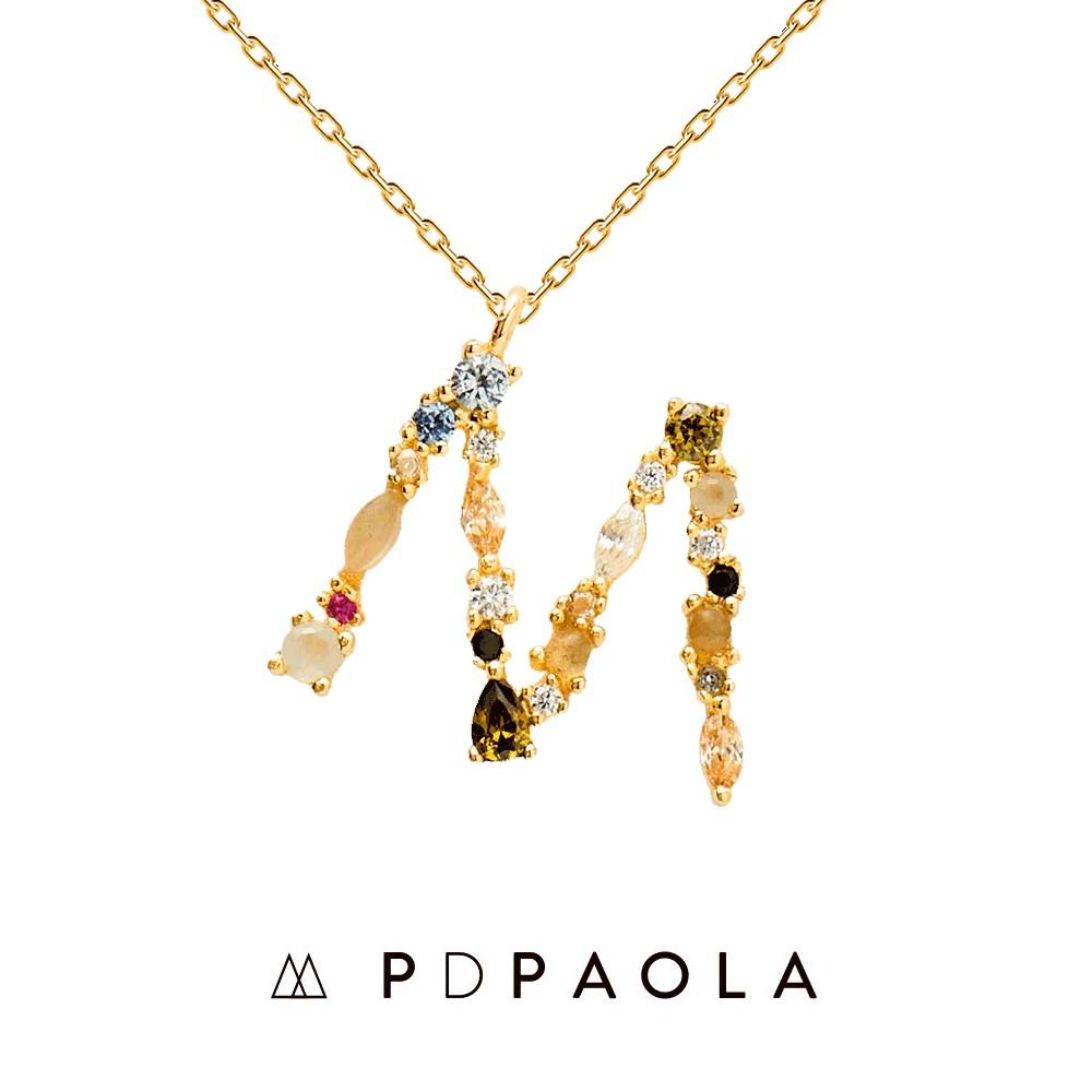 PD PAOLA 西班牙時尚潮牌 金色M字母項鍊 彩鑽項鍊 925純銀鑲18K金