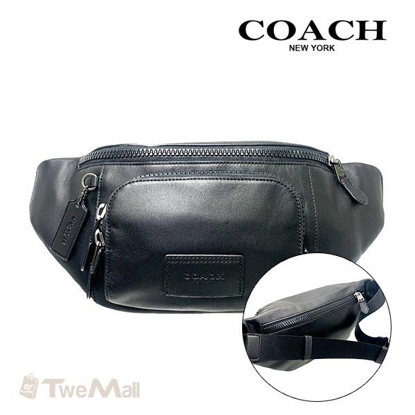 COACH新款全皮革素面胸包腰包單肩包(黑)