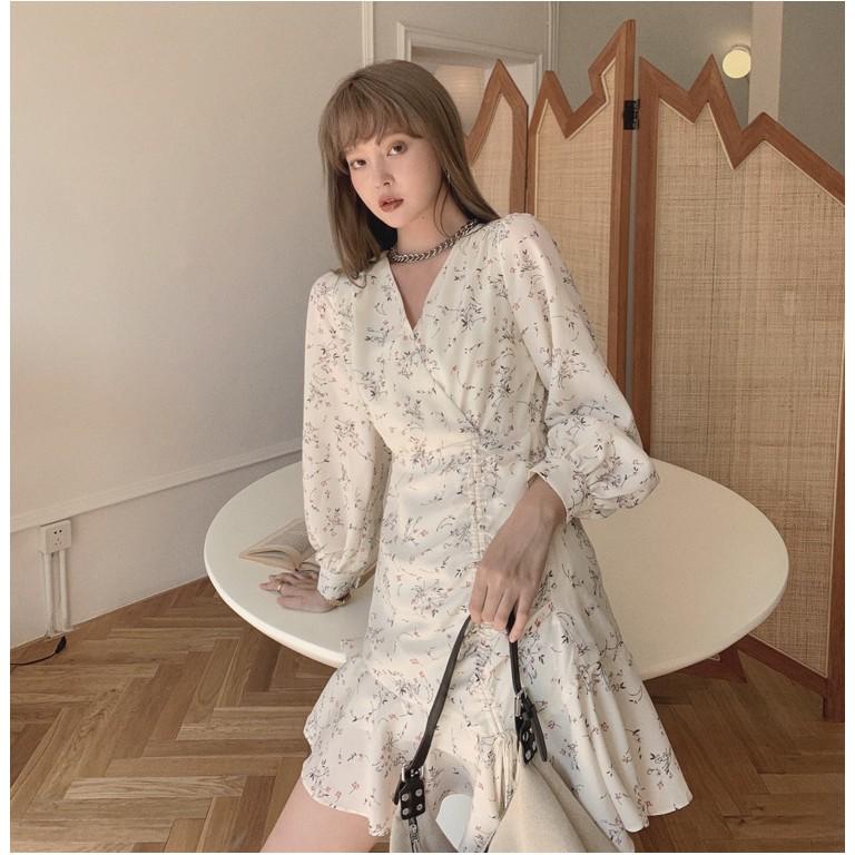 春裝新款 超仙收腰顯瘦碎花裙女桔梗法式複古小眾連衣裙