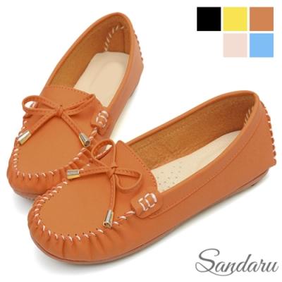 山打努SANDARU-豆豆鞋 MIT真皮墊蝶結金飾莫卡辛鞋-棕