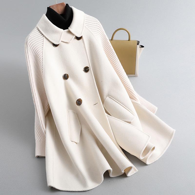 雙面羊毛絨毛呢子大衣女2020年秋冬裝新款針織袖外套寬鬆斗篷 86HH