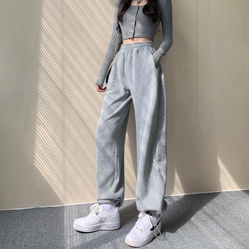 束腳褲女 加絨加厚 高腰休閒褲 顯瘦寬鬆直筒長褲 2020秋冬新款 灰色運動褲子