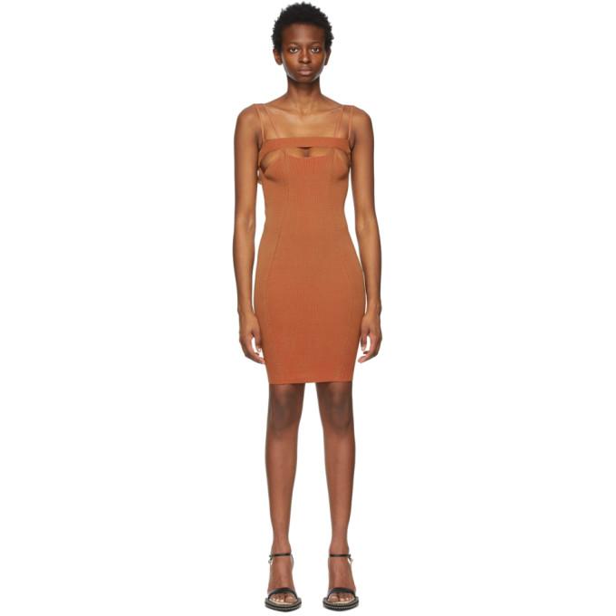 ISA BOULDER SSENSE 独家发售黄褐色 and 红色 Bottle 连衣裙