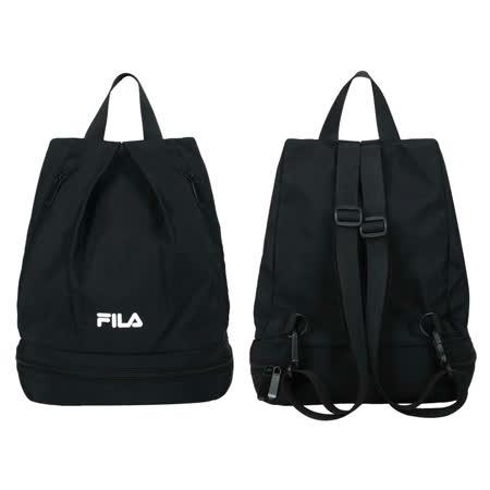 FILA 乾濕分離後背包-防潑水 斜背包 雙肩包 肩背包 黑白 F