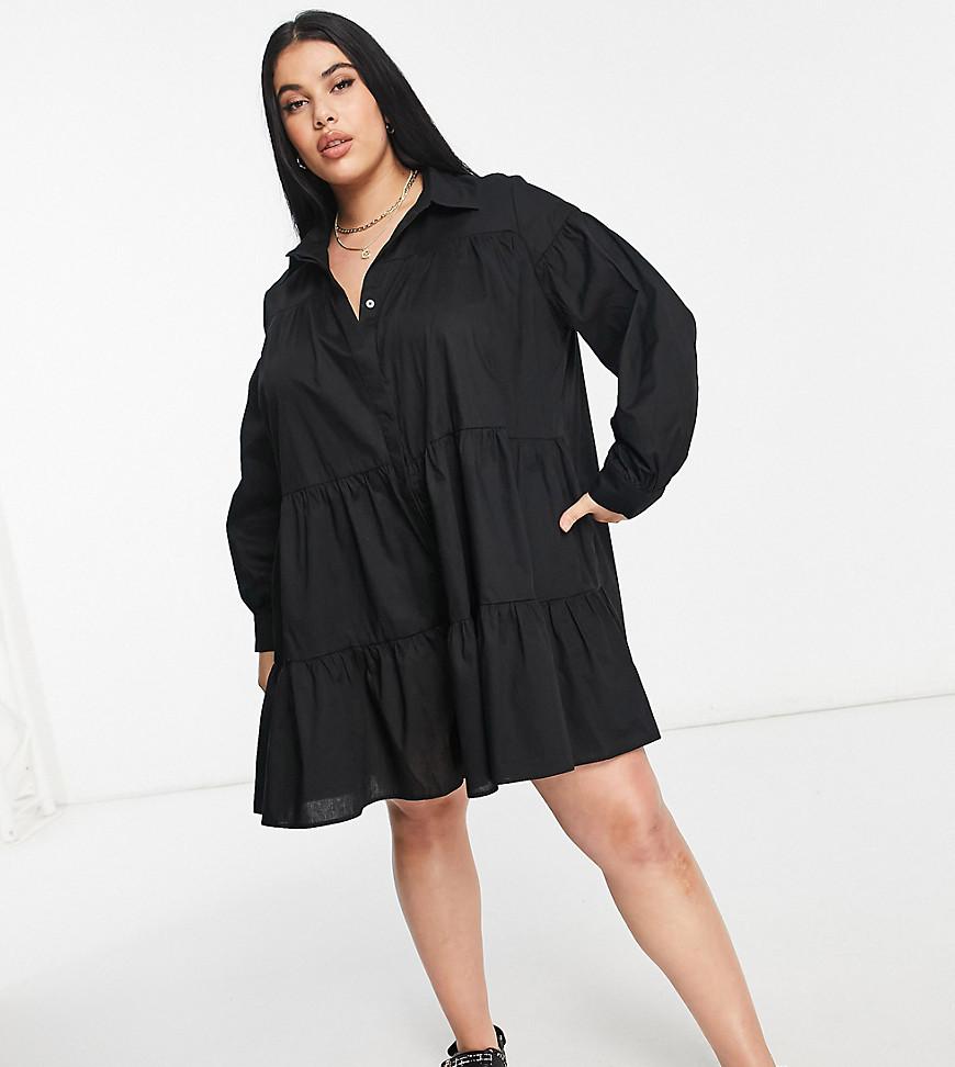 Threadbare Plus Size tiered shirt dress in black