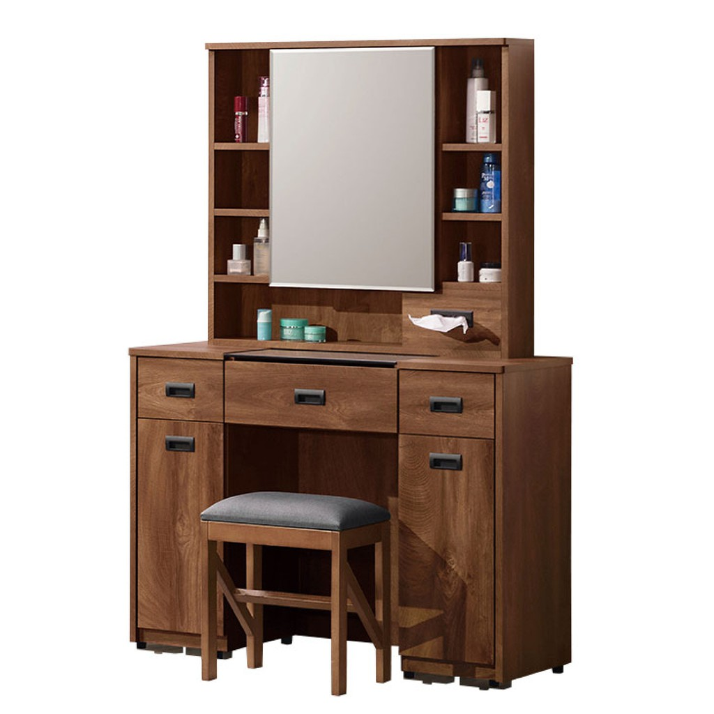【97cm化妝台-A118-4】化妝桌收納 化妝椅 化妝鏡 梳妝台 房間鏡台 【金滿屋】