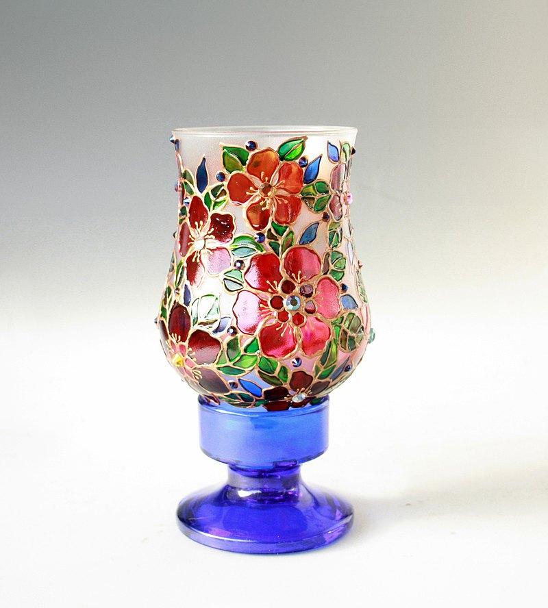 老式玻璃燈燭台手繪,施華洛世奇水晶