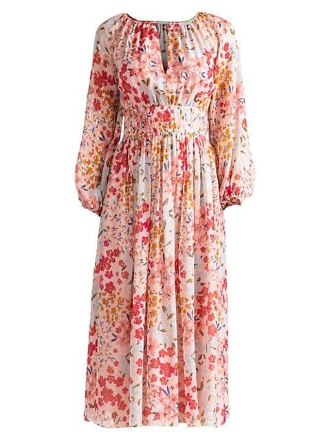 Taura Blouson-Sleeve Silk-Blend Dress