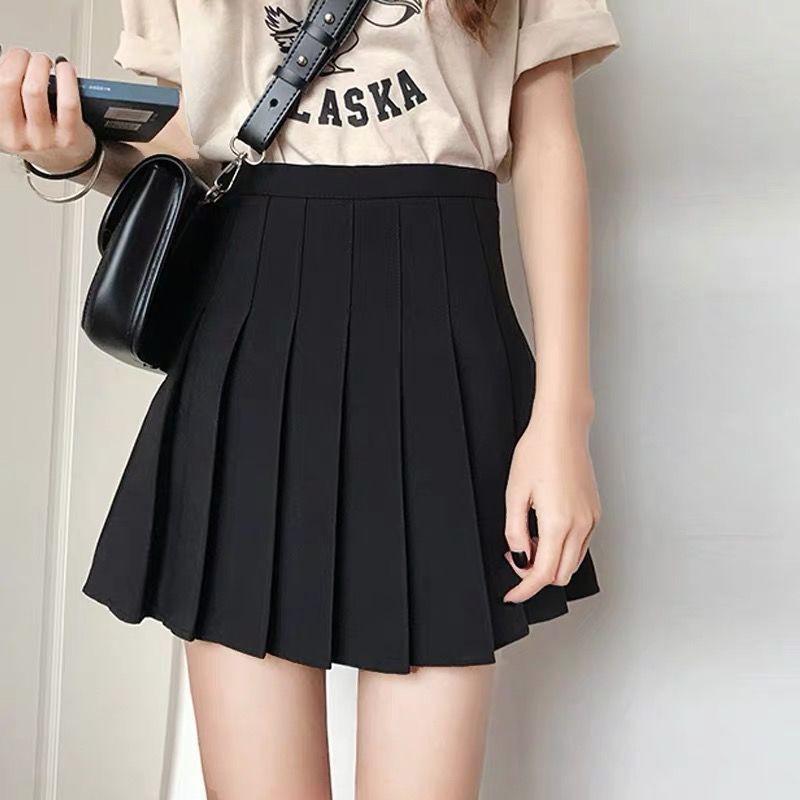 2020新款黑色百褶裙女春夏短裙高腰顯瘦a字半身裙學生褲裙子學院