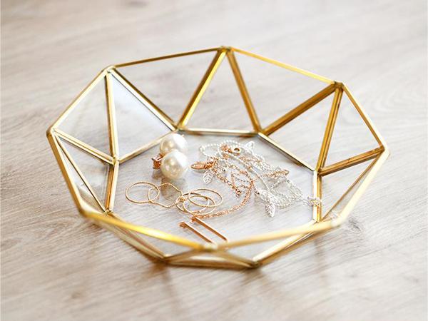 北歐黃銅首飾收納盤(八角圓盤)1入【D021140】