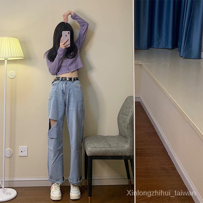 寬鬆直筒學生韓版高腰顯瘦闊腿褲