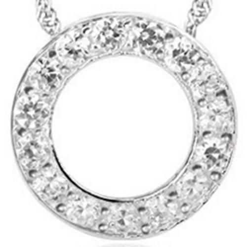 【米蘭精品】925純銀項鍊鑲鑽吊墜-圓型精緻唯美生日情人節禮物女配件銀飾73y43