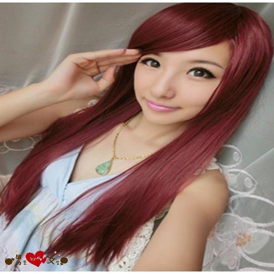 【P18】長直髮斜瀏海蓬鬆高溫絲全頂式假髮4色