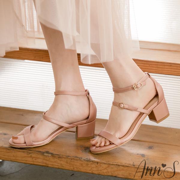 Ann'S優雅浪漫約會-三橫帶絲緞粗跟涼鞋5cm-粉